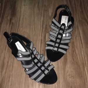 NEW black and white stretchy sandals
